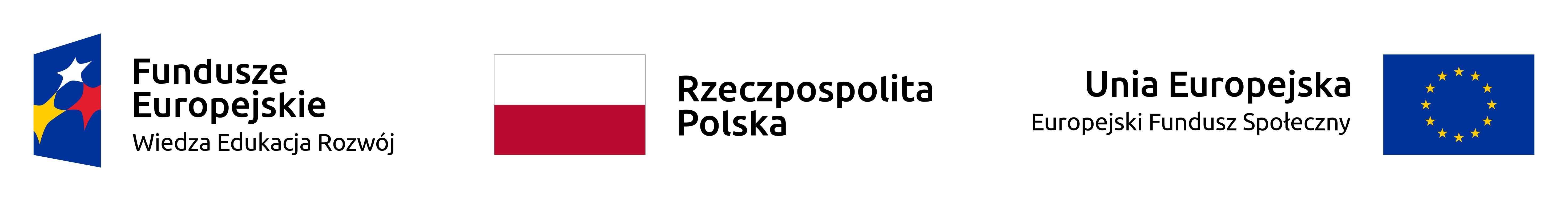 Znak Funduszy Europejskich z nazwą programu, barwy Rzeczpospolitej Polskiej, znak Unii Europejskiej z nazwą Europejski Fundusz Społeczny